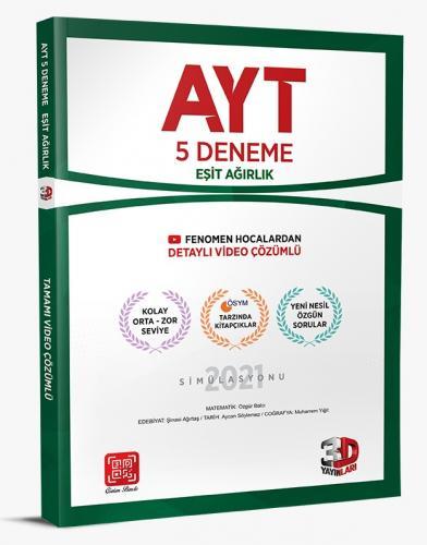 3D Yayınları AYT 5'li Eşit Agırlık Deneme Tamamı Video Çözümlü